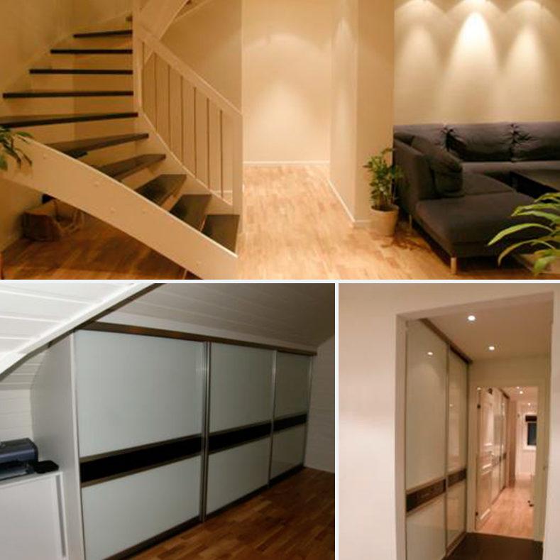 Etterbilder av trapp og skap